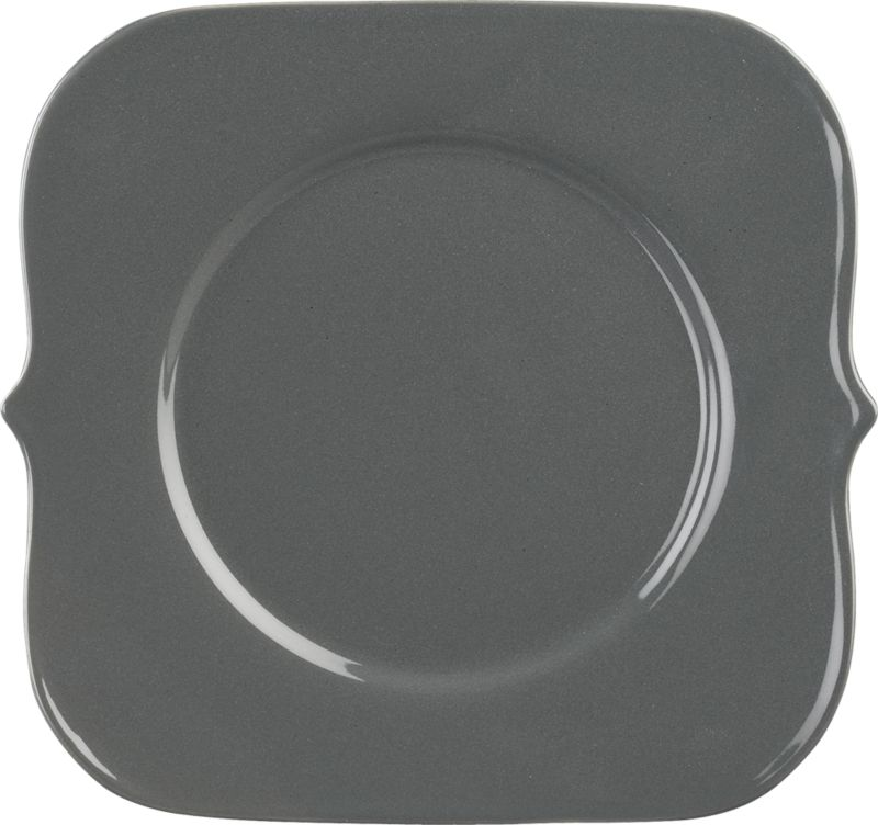 "<span class=""copyHeader"">flare for drama.</span> Modern romance takes shape in sleek nod to new baroque. Glazed slick dark grey, handmade porcelain square speaks volumes, framed by graphic brackets each side that flow to rounded corners.<br /><br /><NEWTAG/><ul><li>Handmade</li><li>Porcelain with dark grey glaze</li><li>Dishwasher- and microwave-safe</li></ul>"