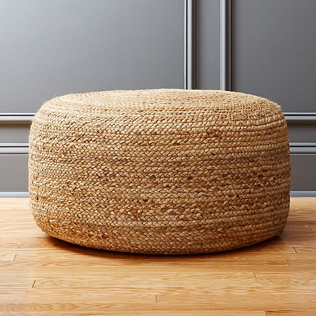 braided jute large pouf cb2. Black Bedroom Furniture Sets. Home Design Ideas