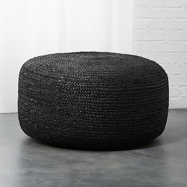 Large Black Braided Jute Pouf Cb2