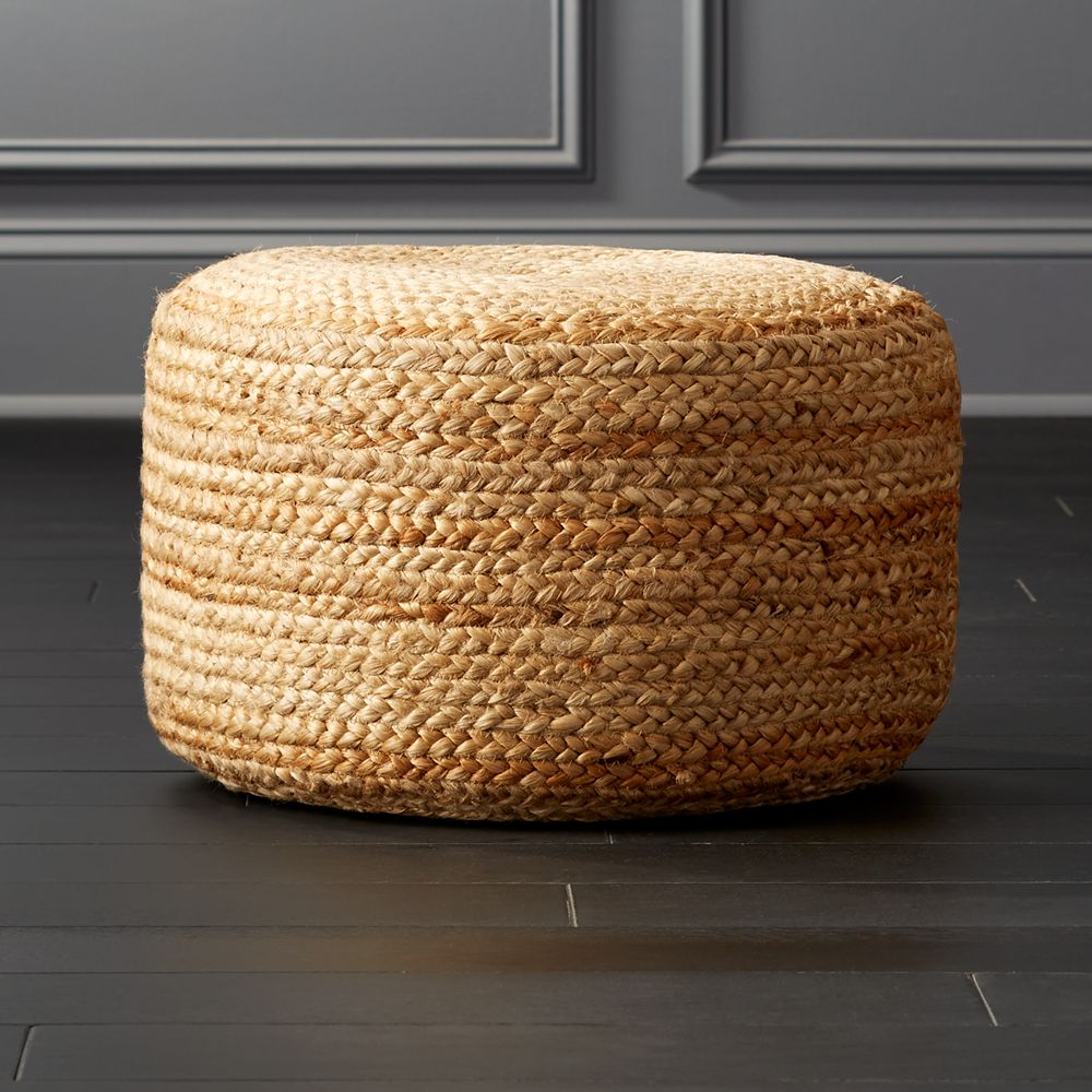 Online Designer Bedroom braided jute pouf