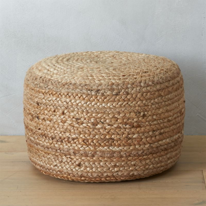 braided jute pouf in poufs reviews cb2. Black Bedroom Furniture Sets. Home Design Ideas