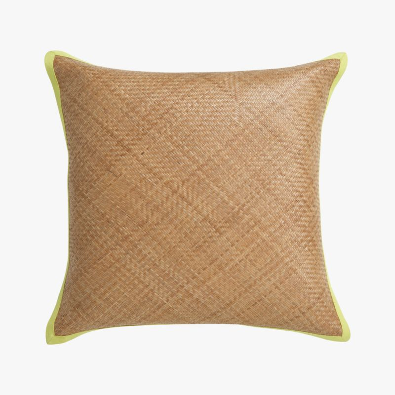 "brasil 20"" pillow with chartreuse with feather-down insert"