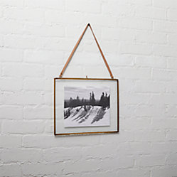 Brass Floating Vertical 5x7 Picture Frame Cb2