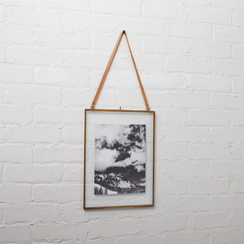 brass floating vertical 5x7 picture frame + Reviews | CB2