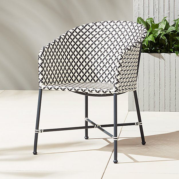 Brava Dining Lounge Grey Wicker Chair Cb2