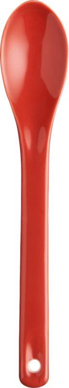 ceramic red-orange spoon