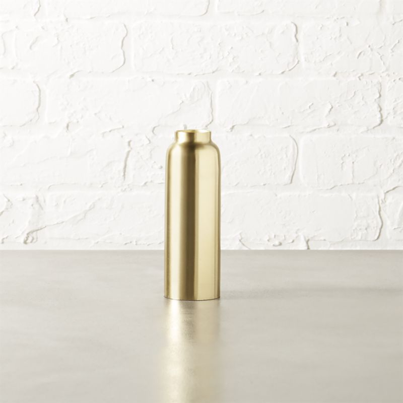 "<span class=""copyHeader"">bottle neck.</span> Sleek iron bottle enameled matte brass pedestals a single flicker. Mix metals with drohgo taperholder matte black large and kalisi taperholder yellow small.<br /><br />For tips on arranging a modern Thanksgiving table, check out <a rel=""external""href=""/blog/terrarium-thanksgiving-centerpiece/"">Idea Central</a>.<br /><br /><NEWTAG/><ul><li>Iron</li><li>Matte brass enamel</li><li>Accommodates one taper candle, sold separately</li></ul>"