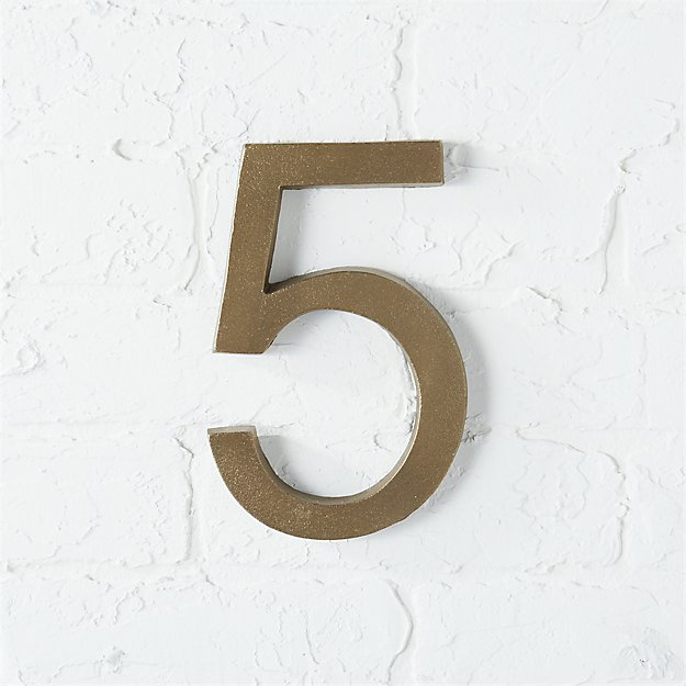 bronze house number 5
