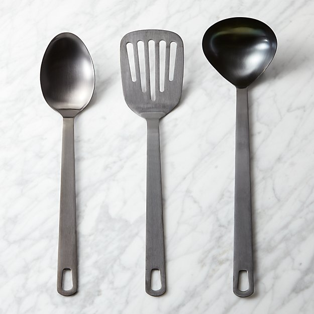 3-piece brushed black kitchen utensil set