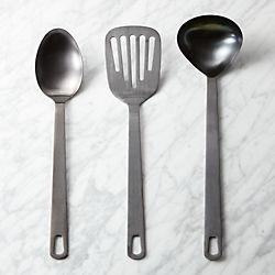 3-piece brushed black kitchen utensil set