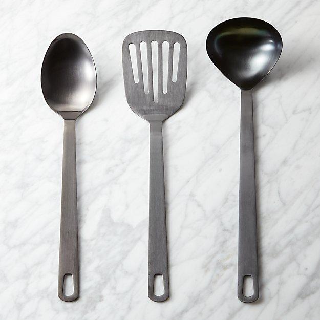 brushed black kitchen utensils | CB2