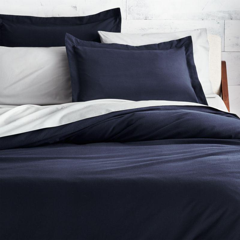 brushed navy blue flannel bedding