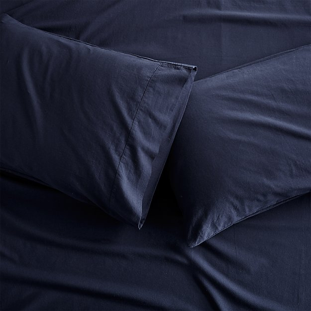 Set of 2 Brushed Navy Flannel Standard Pillowcases