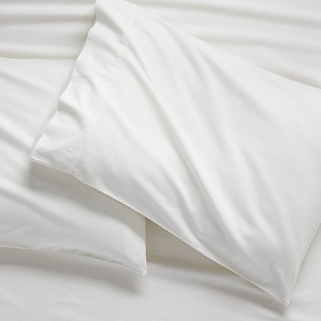 Set of 2 Brushed Natural Flannel Standard Pillowcases