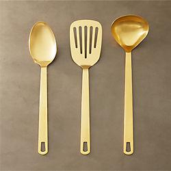 set of 3 brushed gold kitchen utensils