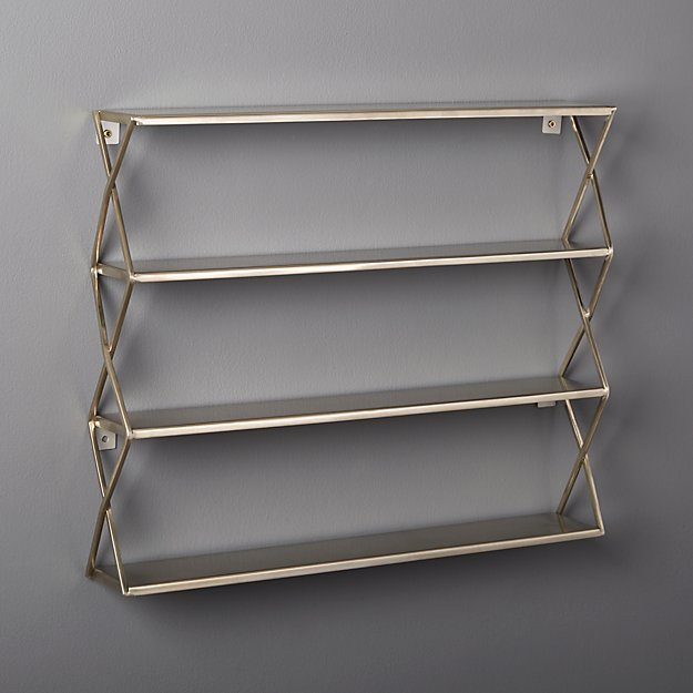 Brushed Stainless Steel X Shelf Cb2