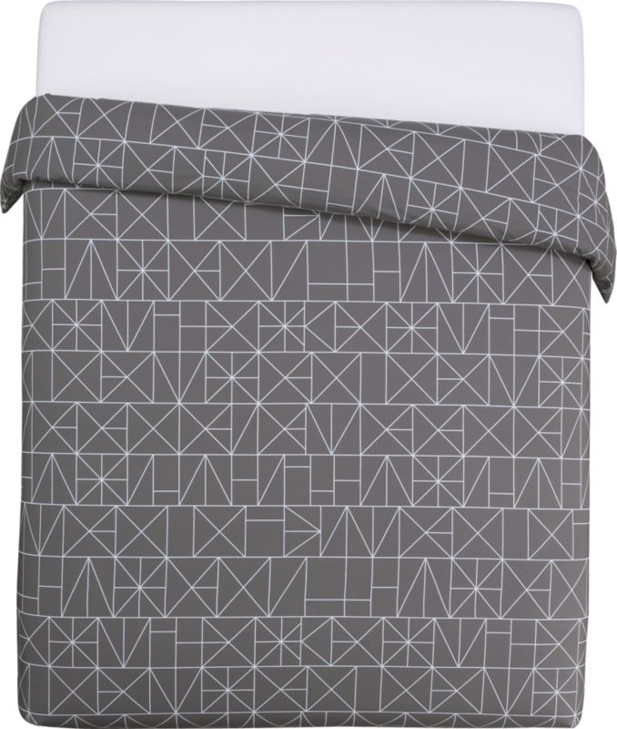 """<span class=""""copyHeader"""">sleep patterns.</span> Inspired by hieroglyphic symbols, Italian design team A/R studio inscribes white linear graphics on shadow in soft 200-thread-count cotton, both sides. Duvet cover has non-slip corner ties and hidden button closure. Learn more about <a rel=""""external""""href=""""http://blog.cb2.com/home/2010/7/6/designer-profile-ar-studio.html"""">A/R Studio</a> on our blog.<br /><br /><NEWTAG/><ul><li>Designed by A/R Studio</li><li>100% cotton</li><li>200 thread count</li><li>Duvet has non-slip corner ties and hidden button closure; reverses to matching pattern</li><li>Machine wash warm; do not dry clean</li></ul>"""
