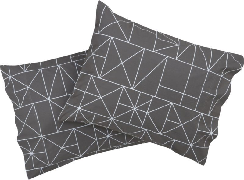 "<span class=""copyHeader"">sleep patterns.</span> Inspired by hieroglyphic symbols, Italian design team A/R studio inscribes white linear graphics on shadow in soft 200-thread-count cotton, both sides. Matching shams have clean envelope closures. Learn more about <a rel=""external""href=""http://blog.cb2.com/home/2010/7/6/designer-profile-ar-studio.html"">A/R Studio</a> on our blog.<br /><br /><NEWTAG/><ul><li>Designed by A/R Studio</li><li>100% cotton</li><li>200 thread count</li><li>Shams have envelope closure; reverses to matching pattern</li><li>Machine wash warm; do not dry clean</li></ul>"