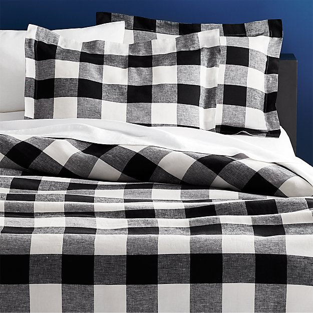 Beige And Coffee Plaid Print Linen Contemporary Bedroom: Buffalo Plaid Linen Bedding