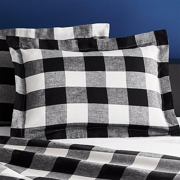 Set of 2 Buffalo Plaid Linen Standard Shams