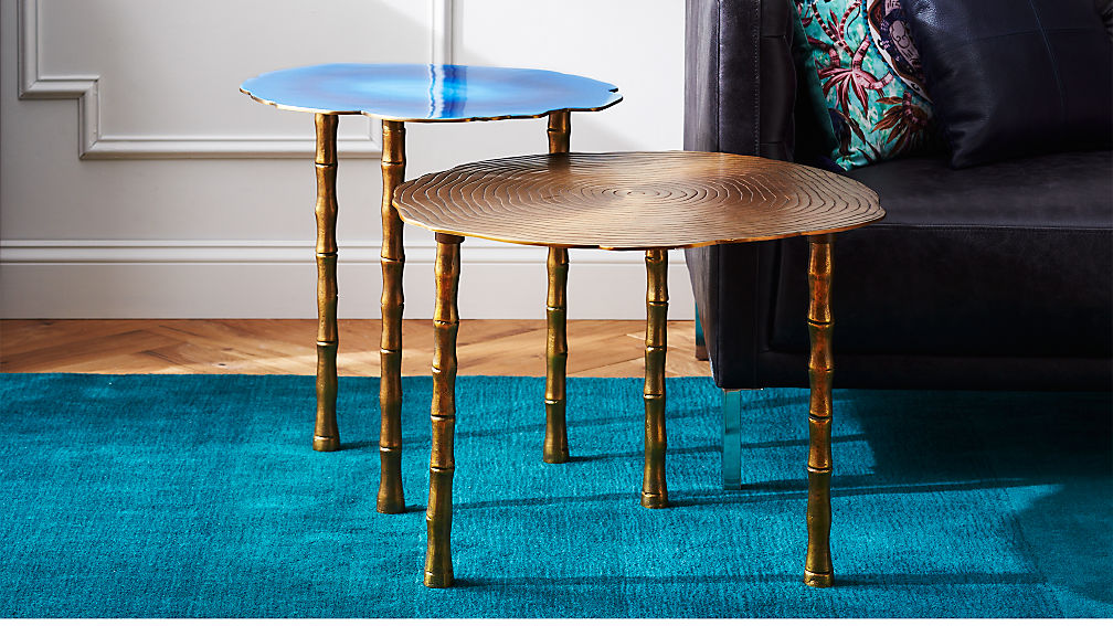 Bronze And Atol Bamboo Bunching Side Tables   CB2