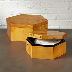 burlwood hexagon storage boxes