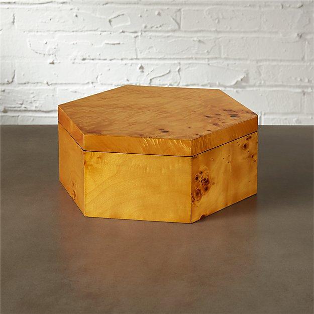 burl wood large storage box