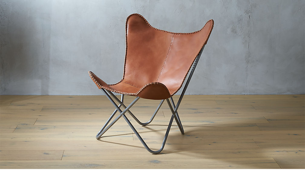 1938 Tobacco Leather Butterfly Chair Cb2