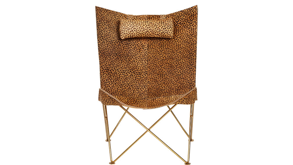 Butterfly Chair with Cheetah Hide Headrest