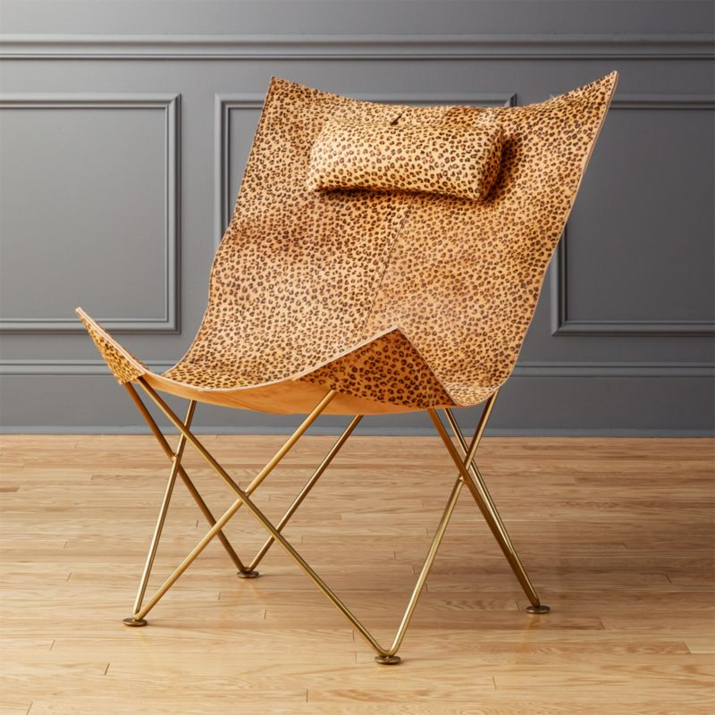 Butterfly Chair With Cheetah Print Hide Headrest