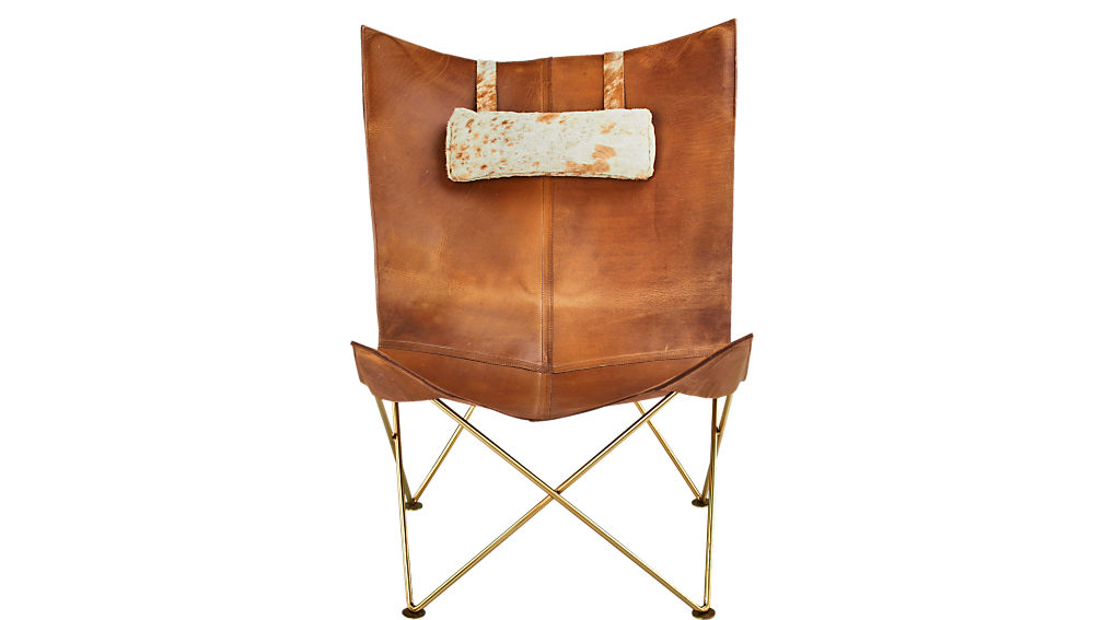 Brown Leather Butterfly Chair with Hide Headrest