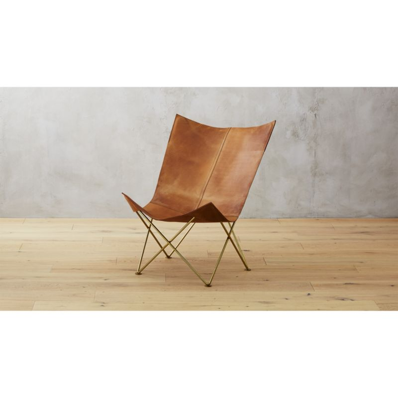 brown leather butterfly chair cb2. Black Bedroom Furniture Sets. Home Design Ideas