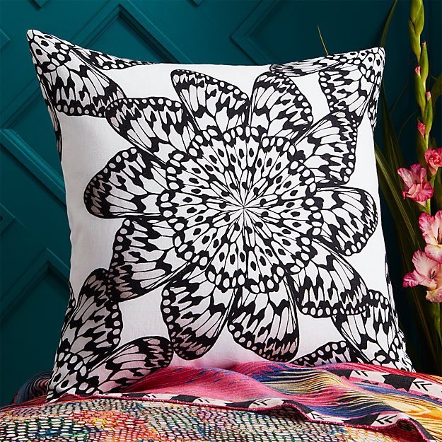 "20"" butterfly wheel black and white pillow"