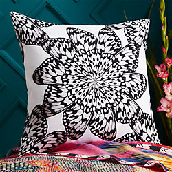 """20"""" butterfly wheel black and white pillow with down-alternative insert"""