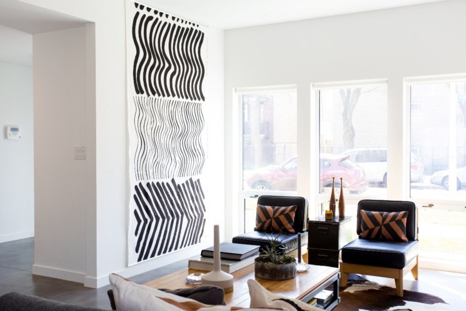 modern home design dave widmers house cb2 blog - Fabric Wall Designs