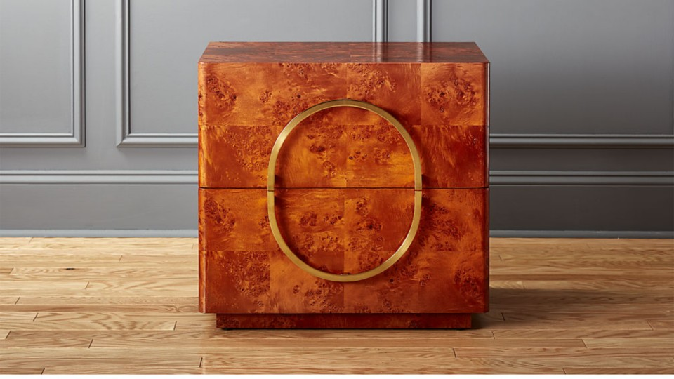 Design by Mermelada Estudio  the nightstand features a high gloss burl wood  veneer that gives it a pretty. Burl Wood Furniture   CB2 Idea Central