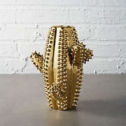 gold cactus vase