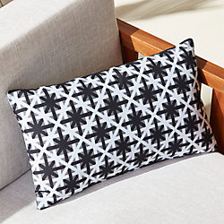 "20""x12"" cafe white and black outdoor pillow"