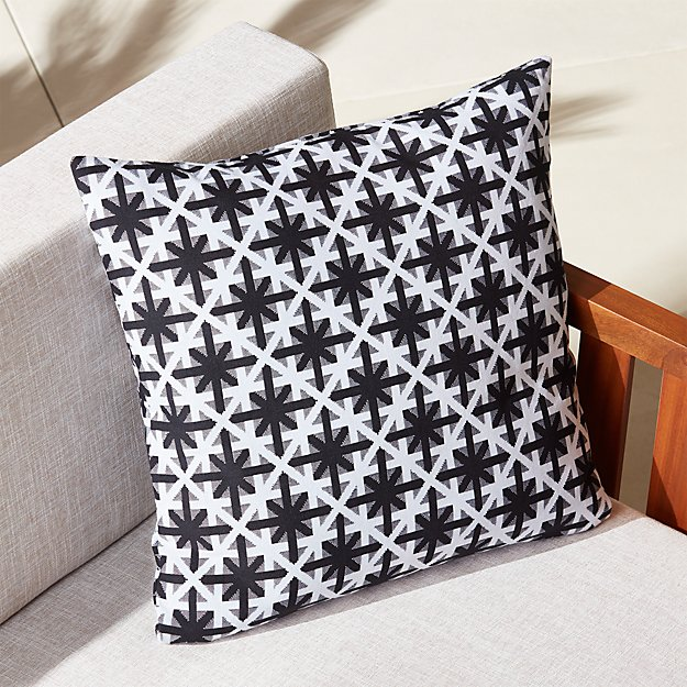 "20"" cafe white and black outdoor pillow"