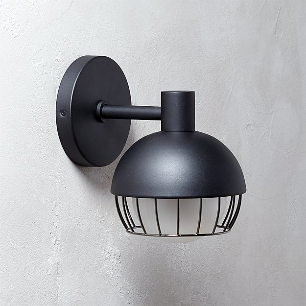 Cage Indoor-Outdoor Matte Black Wall Sconce