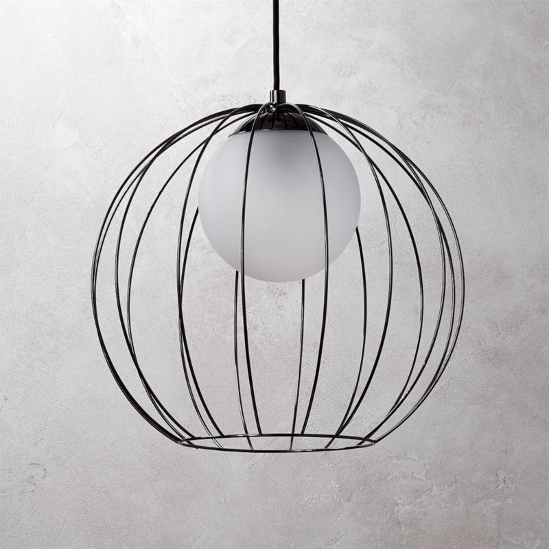 Cage Black Globe Pendant Light Reviews Cb2