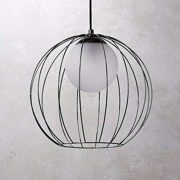 Cage Black Globe Pendant Light + Reviews