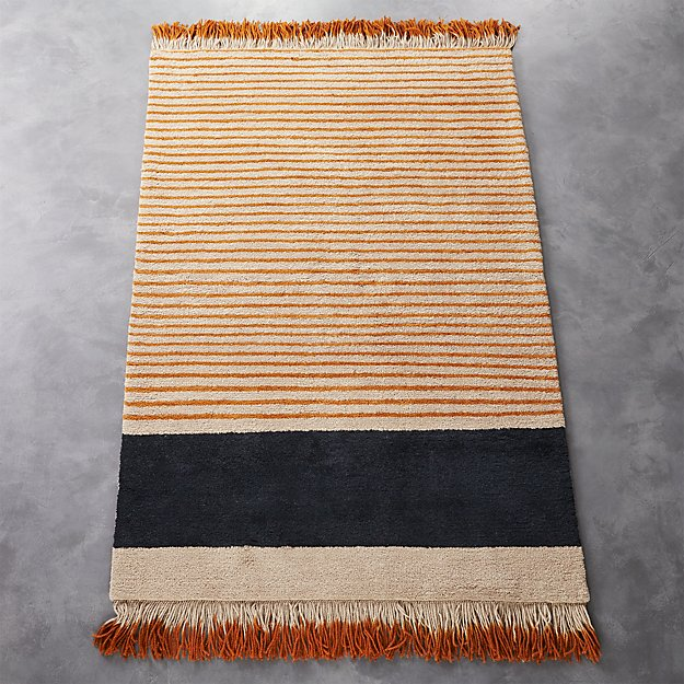 camel pinstripe rug