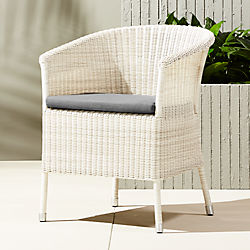 camilla dining-lounge white wicker chair with grey cushion
