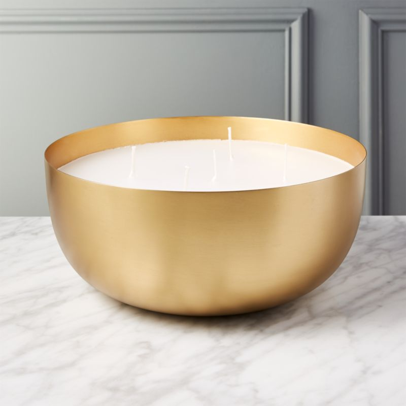 Large Brass Candle Bowl Reviews Cb2