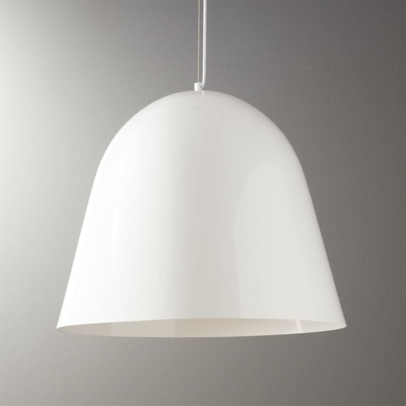 Capitol large drum pendant light cb2 capitol large white bell pendant light mozeypictures Gallery