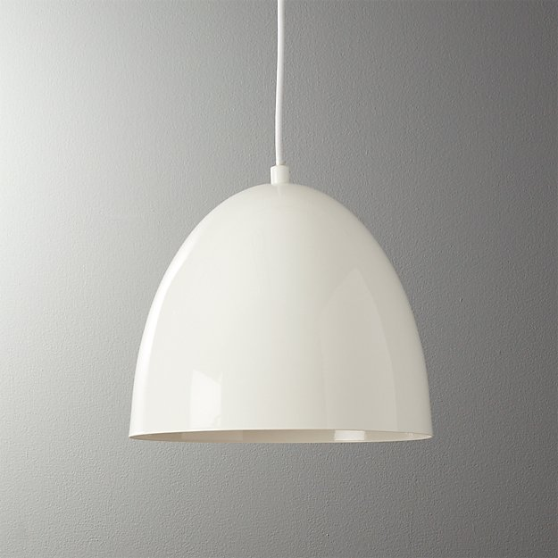 Capitol small white bell pendant light reviews cb2