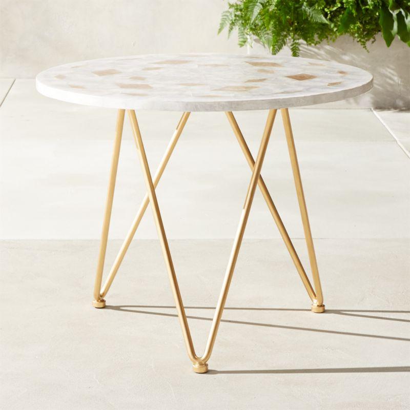 outdoor metal table. Capiz Side Table Outdoor Metal