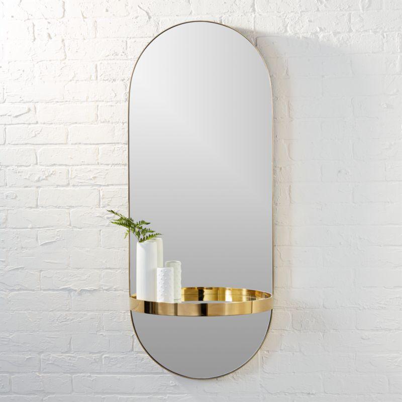 Wall Mirror With Shelf caplet oval mirror with shelf | cb2