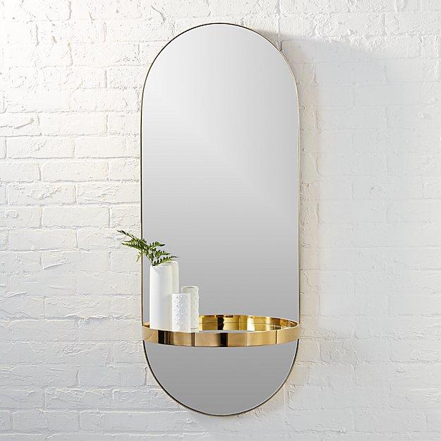 caplet oval mirror with shelf